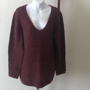 Caslon Burgundy V-neck Sweater
